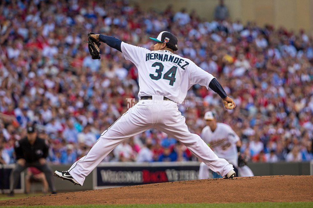 MINNEAPOLIS, MN- JULY 15: American League All-Star Felix Hernandez #34 of the Seattle Mariners during the 85th MLB All-Star Game at Target Field on July 15, 2014 in Minneapolis, Minnesota. (Photo by Brace Hemmelgarn) *** Local Caption *** Felix Hernandez
