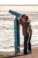 Young Boys Looking Through a Seaside Telescope, Southend on Sea, Essex, Britain - Oct 2009
