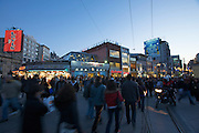 Istanbul. Istiklal Street pedestrian zone at dusk, seen from Taksim Square.