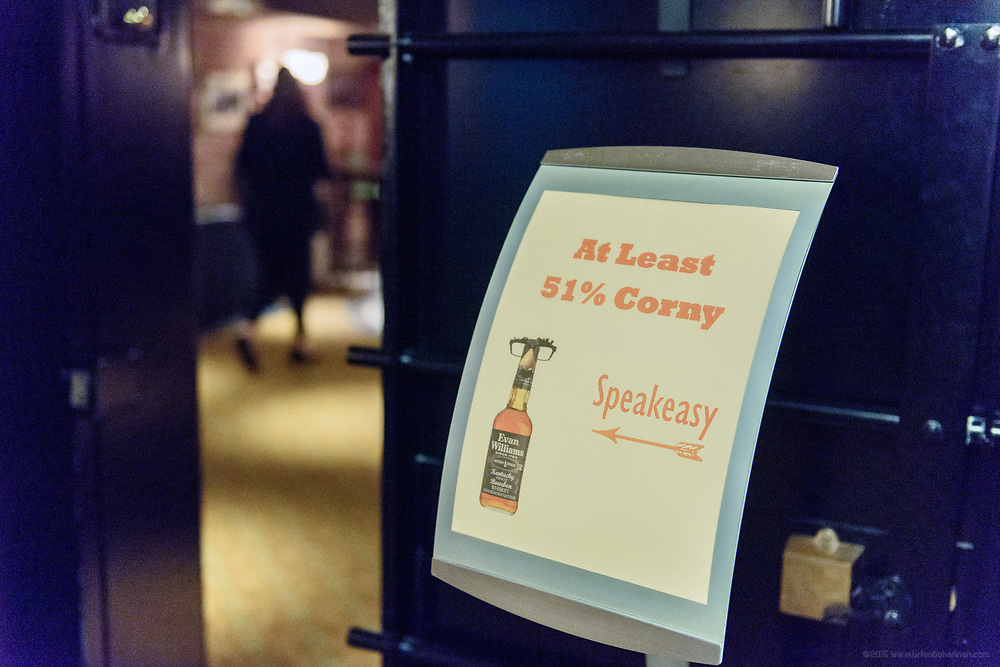 """For Father's Day, Heaven Hill Distilleries - Evan Williams Bourbon Experience presents, """"At Least 51% Corny: A Dinner Celebrating Dad,"""" a three-course dinner and signature cocktails in their secret speakeasy Saturday June 16, 2017 at 528 W. Main St., across from The Kentucky Center in downtown Louisville, Ky. (Photo by Brian Bohannon)"""