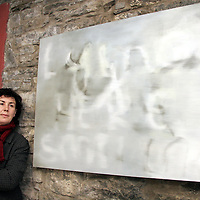 Organiser Jackie Askew with her piece titled 'Text' at the opening night of the Hidden Depths art exhibition in Ennistymon on Wednesday night.<br /> <br /> Photograph by Yvonne Vaughan.