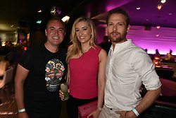 Left To Right, Nick Ede, Jane Given and Mark Hogarth at the STK Ibiza themed brunch party at STK London, London, England. 7 May 2017.<br /> Photo by Dominic O'Neill/SilverHub 0203 174 1069 sales@silverhubmedia.com