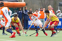 AERDENHOUT - 09-04-2012 - Jasper Luykx, maandag tijdens de finale tussen Nederland Jongens B en Spanje Jongens B  (3-1) , tijdens het Volvo 4-Nations Tournament op de velden van Rood-Wit in Aerdenhout. Jongens U16 wortdt kampioen.FOTO KOEN SUYK