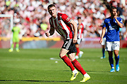 John Lundstram of Sheffield United during the Premier League match between Sheffield United and Leicester City at Bramall Lane, Sheffield, England on 24 August 2019.