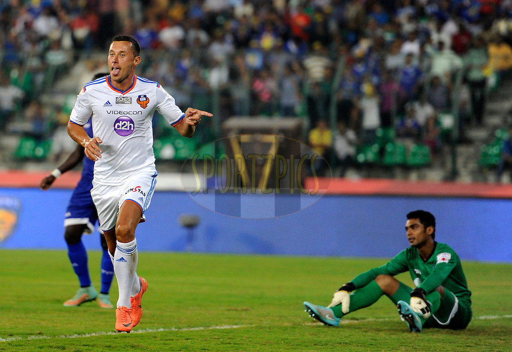 Miroslav Slepicka of FC Goa runs to celebrate a goal during match 50 of the Hero Indian Super League between Chennaiyin FC and FC Goa held at the Jawaharlal Nehru Stadium, Chennai, India on the 5th December 2014.<br /> <br /> Photo by:  Pal Pillai/ ISL/ SPORTZPICS