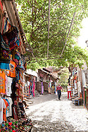 Wiseria covered alleyways in the village of Molivos, Lesbos Island, Greece