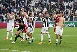 September 27, 2017 - Turin, Piedmont, Italy - Juventus players celebrate the victory against Olympiankos after the UEFA Champions League (Group D) football match between Juventus FC and Olympiakos FC  at Allianz Stadium on 27 September, 2017 in Turin, Italy. .Juventus won 2-0 over Olympiakos. (Credit Image: © Massimiliano Ferraro/NurPhoto via ZUMA Press)