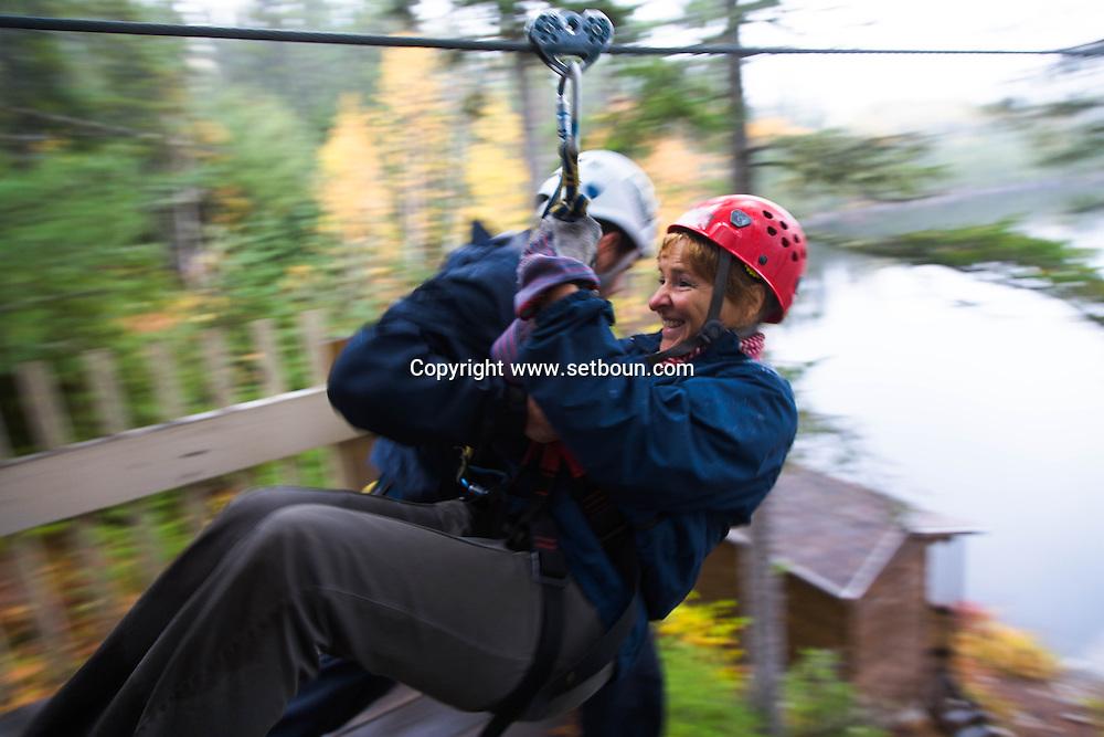 Canada. Quebec. Les Palissades  Aventure park and Via ferrata in mountain . in Saint-Simeon, Charlevoix   / Parc d Aventure en montagne Les Palissades. Saint-Simeon, Charlevoix  www.lascensation.com