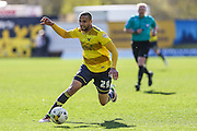 Oxford United's Jordan Bowery on the ball during the Sky Bet League 2 match between Oxford United and Luton Town at the Kassam Stadium, Oxford, England on 16 April 2016. Photo by Shane Healey.