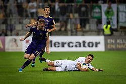 Rudi Požeg Vancaš of Maribor and Luka Menalo of Olimpija during football match between NK Maribor and Olimpija in 3nd Round of Prva liga Telekom Slovenije 2019/20, on July 28, 2019 in Ljudski Vrt, Maribor, Slovenia. Photo by Blaž Weindorfer / Sportida