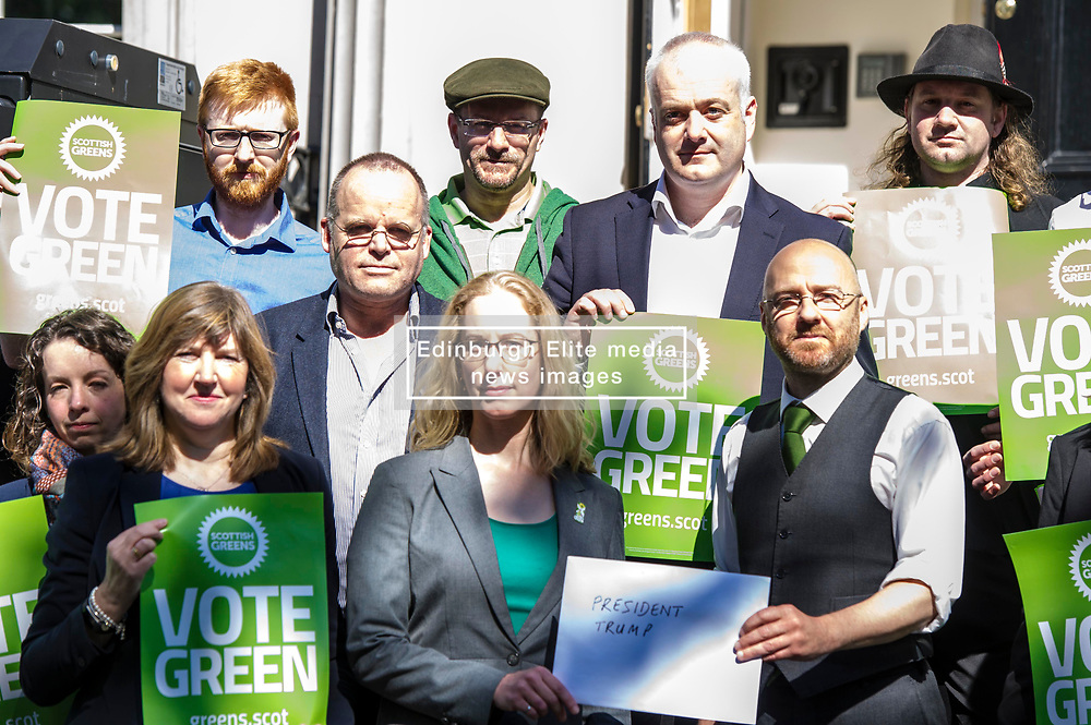 Pictured: <br /> <br /> Scottish Green Party party leader Partick Harvie was joined by Local candidate Lorna Slater, MSPs Alison Johnstone, Mark Ruskell, Andy Wightman and Ross Geer to hand in a letter addresses to Donald Trump, President of the USA at the US Consulate in Edinburgh <br /> Ger Harley | EEm 20April 2017
