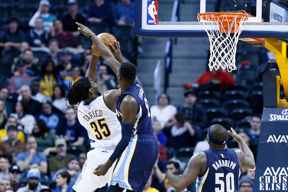 01 February 2016: Denver Nuggets forward Kenneth Faried (35) goes for the layup past Denver Nuggets forward Danilo Gallinari (8) during the Memphis Grizzlies 119-99 victory over the Denver Nuggets, at the Pepsi Center, Denver, Colorado, USA.
