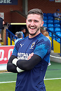 AFC Wimbledon goalkeeper Joe McDonnell (24) smiling prior to kick off during the EFL Sky Bet League 1 match between AFC Wimbledon and Rotherham United at the Cherry Red Records Stadium, Kingston, England on 3 August 2019.