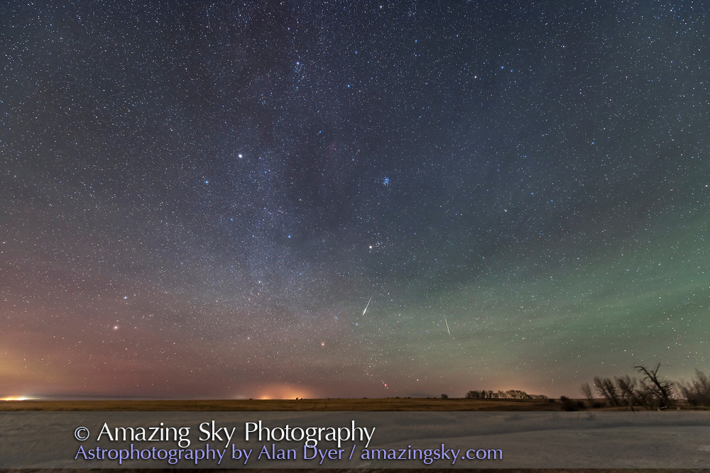 Two Taurid meteors from the November 2015 shower, on November 10, taken from home as part of testing the Nikon D810a and 14-24mm Nikon lens. Green airglow lights the sky, as well as horizon glows from distant lights on this very frosty and humid night for a late fall evening. <br /> <br /> This is a stack of two exposures, one for each meteor, each 60 seconds at f/2.8 and at 14mm and at ISO 800, both tracked on the AP Mach One mount.