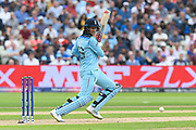 Joe Root of England cuts the ball away for a couple of runs during the ICC Cricket World Cup 2019 semi final match between Australia and England at Edgbaston, Birmingham, United Kingdom on 11 July 2019.