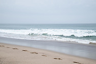 Photo beach waves wall art. Santa Monica beach and pacific ocean waves on the sand. Southern California beach landscape photography. Matted print, limited edition. Fine art photography print.