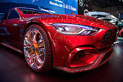 GENEVA, SWITZERLAND - Tuesday, March 7, 2017: Mercedes Mercedes-AMG GT Concept car on display at the 87th Geneva International Motor Show at the Palexpo. (Pic by David Rawcliffe/Propaganda)