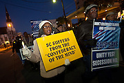 CHARLESTON, SC - DECEMBER 20: NAACP protesters march against the Secession Ball December 20, 2010 on the 150th Anniversary of South Carolina's Secession from the Union in Charleston, SC.  South Carolina was the first state to secede resulting in the US Civil War.  (Photo by Richard Ellis/Getty Images)
