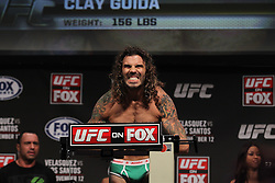 November 11, 2011; Santa Monica, CA; USA; UFC lightweight contender Clay Guida weighs in for his upcoming fight against Ben Henderson.  The two will meet on Saturday night in the co-feature at the Honda Center in Anaheim, CA.