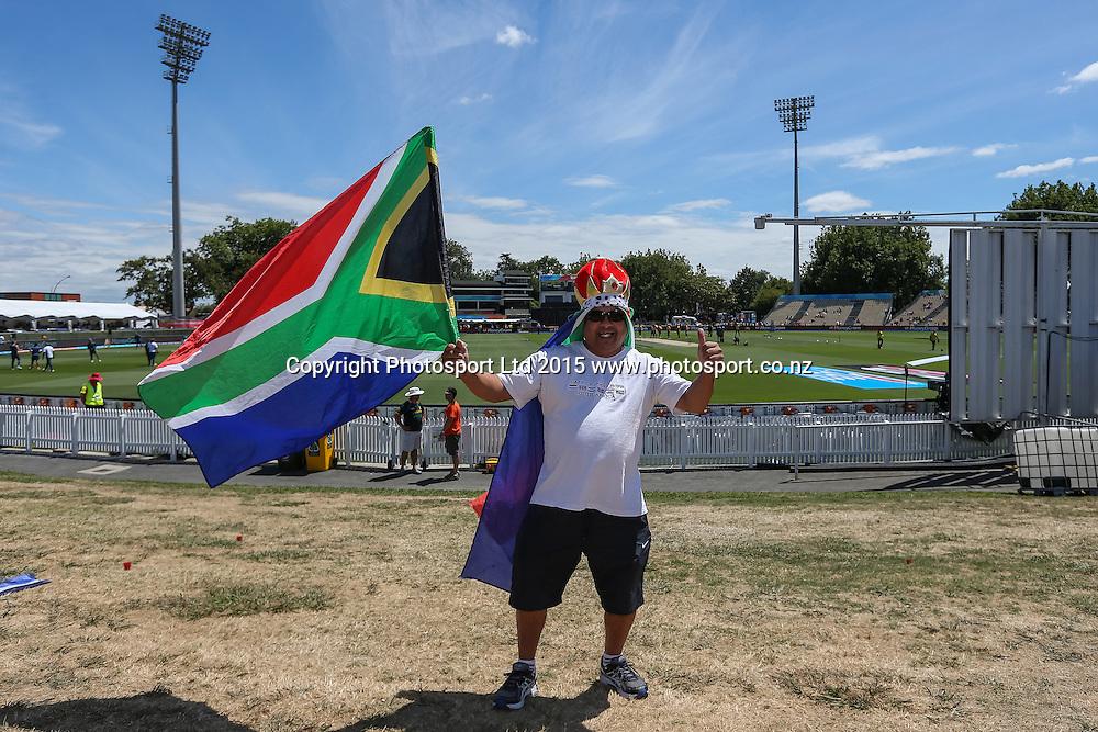 Cricket fan ahead of the ICC Cricket World Cup match - South Africa v Zimbabwe at Seddon Park, Hamilton, New Zealand on Sunday 15 February 2015.  Photo:  Bruce Lim / www.photosport.co.nz