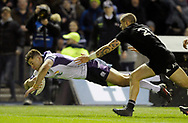 Scotland v New Zealand Saturday 18th November 2017 BT Murrayfield, Edinburgh.<br /> <br /> Huw Jones of Scotland scores Scotlands 2nd try despite  TJ Perenara of New Zealand<br /> <br />  Neil Hanna Photography<br /> www.neilhannaphotography.co.uk<br /> 07702 246823