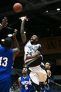 Gabe Freeman of the Razorsharks leaps for the basket during a game against the Carolina Vipers at the Blue Cross Arena on Saturday, December 6, 2014.