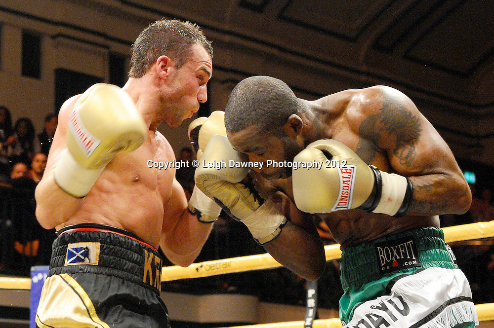 Larry Ekundayo defeats Kris Carslaw in Semi Final One, Prizefighter at York Hall, Bethnal Green, London on the 1st November 2012. Frank Warren Promotions. © Leigh Dawney Photography 2012.