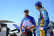 TUCSON, ARIZONA - MAY 07:  Sprint Cup Series driver David Gilliland (L) talks with his son, Todd Gilliland, driver of the #16 NAPA Auto Parts, during practice for the NASCAR K&N Pro Series West NAPA Auto Parts Wildcat 150 at Tucson Speedway on May 7, 2016 in Tucson, Arizona.  (Photo by Jennifer Stewart/NASCAR via Getty Images)