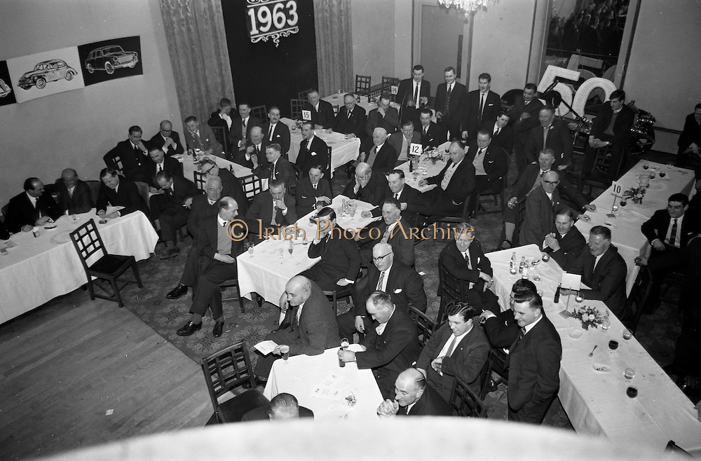 07/02/1963<br /> 02/07/1963<br /> 07 February 1963<br /> Brittain Dublin Ltd. Golden Jubilee reception and Dinner at the Hibernian Hotel, Dublin. Picture shows a view of the dinner.