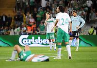 FUSSBALL     UEFA CUP  FINALE  SAISON 2008/2009 Shakhtar Donetsk - SV Werder Bremen 20.05.2009 Torsten Frings (links), Claudio Pizarro (Mitte) und Tim Wiese (rechts alle Bremen) sind nach dem Schlusspfiff enttaeuscht