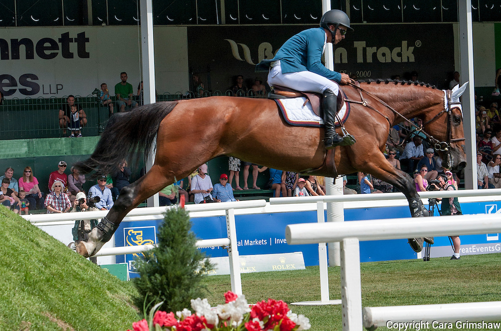 PABLO BARRIOS (VEN) rides FANANKA A in the 1.50m Derby Nexen Cup during National CSI 5* at Spruce Meadows presented by Rolex, June 7 2015. Calgary.
