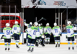 Players of Slovenia leaving the ice court after the 2017 IIHF Men's World Championship group B Ice hockey match between National Teams of France and Slovenia, on May 15, 2017 in AccorHotels Arena in Paris, France. Photo by Vid Ponikvar / Sportida