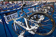Emma Moffatt AUS Bike In Transition 1.Womens ITU Race.2011 Dextro Energy Triathlon ITU World Championship Sydney.Sydney, New South Wales, Australia..Hosted By USM Events.Proudly Supported By Asics, Dextro, Suunto, Events New South Wales, Subaru, USM Events..10/04/2011.Photo Lucas Wroe