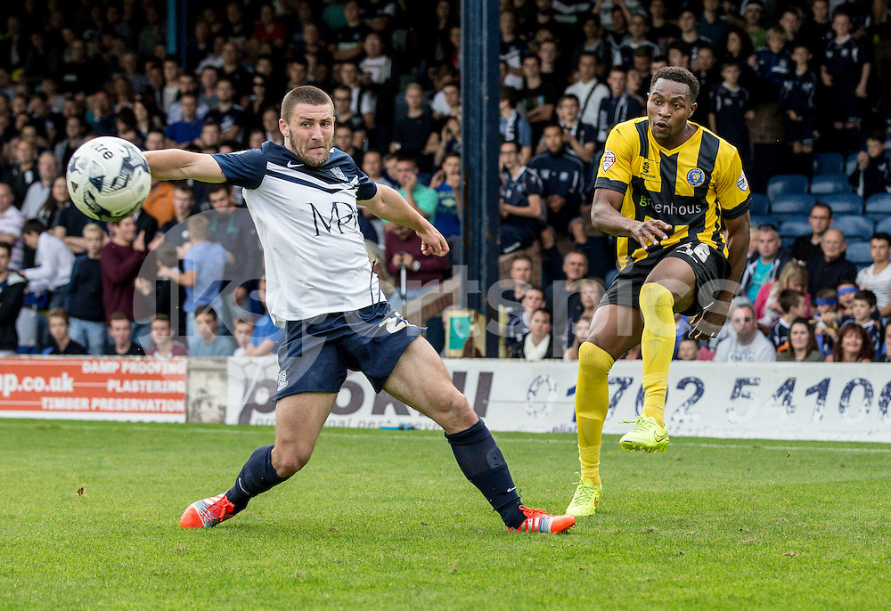 Jean-Louis Akpa Akpro of Shrewsbury Town with a cross during the Sky Bet League 2 match between Southend United and Shrewsbury Town at Roots Hall, Southend, England on 27 September 2014. Photo by Liam McAvoy.