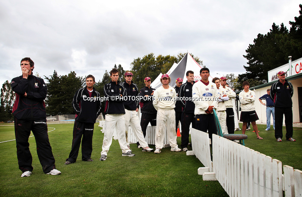 The Northern Knights team gathered during the presentation. Canterbury Wizards v Northern Knights, Plunket Shield Game held at Mainpower Oval, Rangiora, Thursday 07 April 2011. Photo : Joseph Johnson / photosport.co.nz