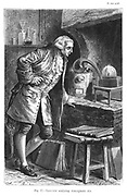 Antoine Laurent Lavoisier (1743-1894) French chemist, investigating the existence of oxygen in the air; experiment in which he obtained mercuric oxide. From Camille Flammarion 'The Atmosphere', London, 1873. Engraving