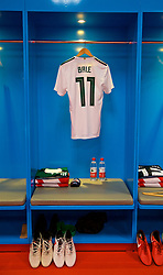 NANNING, CHINA - Thursday, March 22, 2018: The shirt and boots of Gareth Bale in the Wales dressing room during the opening match of the 2018 Gree China Cup International Football Championship between China and Wales at the Guangxi Sports Centre. (Pic by David Rawcliffe/Propaganda)