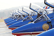Salon de Provence, FRANCE - NOVEMBER 30: The last Patrouille de France show of the year at their Home base  BA 701 on November 30, 2011 in Salon de Provence.(Photo by Tony Barson/BARSONIMAGES)