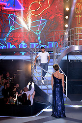 Emma Willis greets winner Ryan Thomas after he leaves the house during the live final of Celebrity Big Brother at Elstree Studios, Hertfordshire.