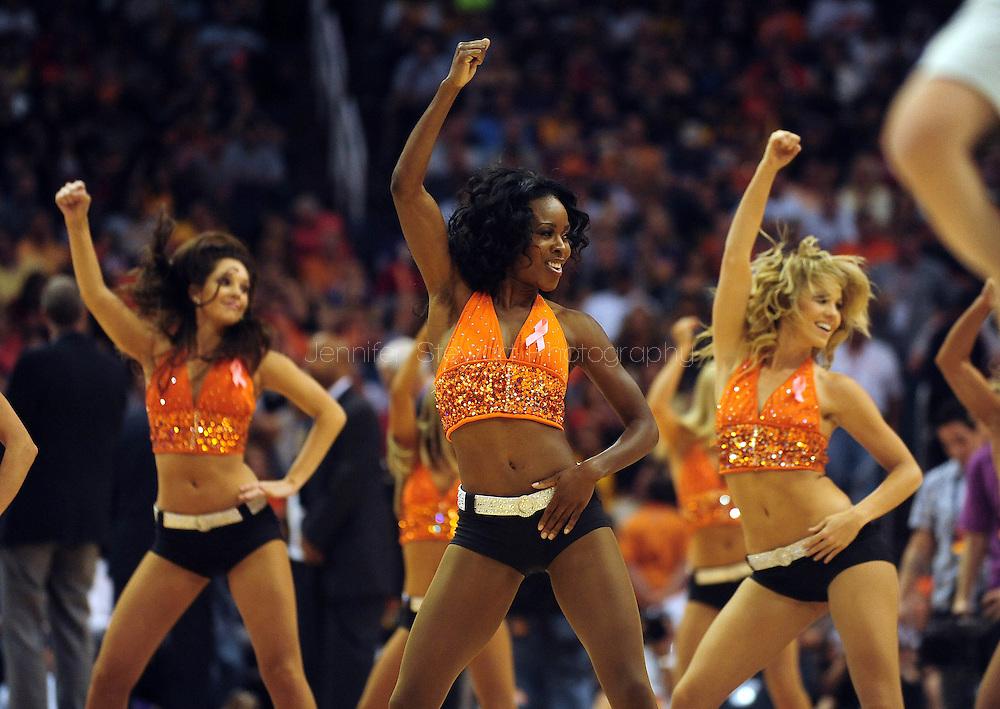 Oct. 29 2010; Phoenix, AZ, USA; Phoenix Suns dancers, dance during at the US Airways Center. Mandatory Credit: Jennifer Stewart-US PRESSWIRE.