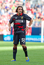 CHICAGO, USA - Sunday, July 27, 2014: Liverpool's Lazar Markovic in action against Olympiacos during the International Champions Cup Group B match at the Soldier Field Stadium on day seven of the club's USA Tour. (Pic by David Rawcliffe/Propaganda)