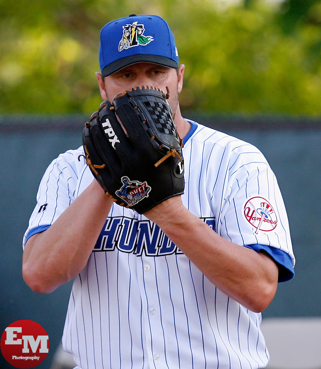 May 23, 2007; Trenton, NJ, USA;  Roger Clemens (22) warms up prior to his Eastern League start for the Trenton Thunder (New York Yankees Double-A affiliate) at Waterfront Park in Trenton, NJ.