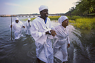 The Reverend Ben Williams, holding his staff, leads some of his flock to a river baptism on Hilton Head Island, South Carolina.