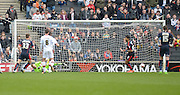 Rotherham Striker Leon Best scores from the spot during the Sky Bet Championship match between Milton Keynes Dons and Rotherham United at stadium:mk, Milton Keynes, England on 9 April 2016. Photo by Dennis Goodwin.