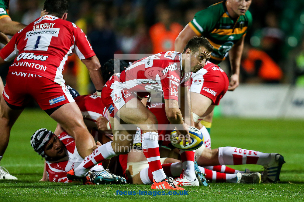 Greg Laidlaw of Gloucester Rugby clears during the Aviva Premiership match at Franklin's Gardens, Northampton<br /> Picture by Andy Kearns/Focus Images Ltd 0781 864 4264<br /> 05/09/2014