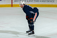KELOWNA, BC - SEPTEMBER 22:  James Neal #18 of the Edmonton Oilers stands on the ice during practice at Prospera Place on September 22, 2019 in Kelowna, Canada. (Photo by Marissa Baecker/Shoot the Breeze)