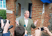 © Licensed to London News Pictures. 22/05/2014. Biggin Hill, UK Leader of The UK independence Party (UKIP) Nigel Farage arrives at Cudham C.E. Primary School in Biggin Hill, Westerham to cast his vote in European and local council elections today 22nd May 2014. Photo credit : Stephen Simpson/LNP