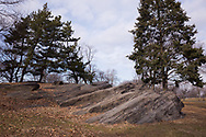 Rock formations near the East Meadow in Central Park