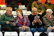 Fans reading the match programme during the EFL Sky Bet League 2 match between Stevenage and Coventry City at the Lamex Stadium, Stevenage, England on 21 November 2017. Photo by Matt Bristow.