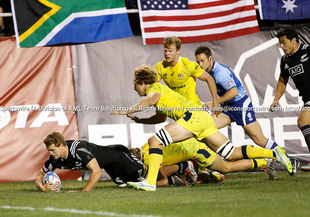14 February 2015:  Scott Curry (1) of New Zealand All Blacks during the quarter finals cup of the USA Sevens Rugby Tournament between Australia and New Zealand at the HSBC Sevens World Series in Las Vegas, Nevada.  New Zealand would defeat Australia 28-7.